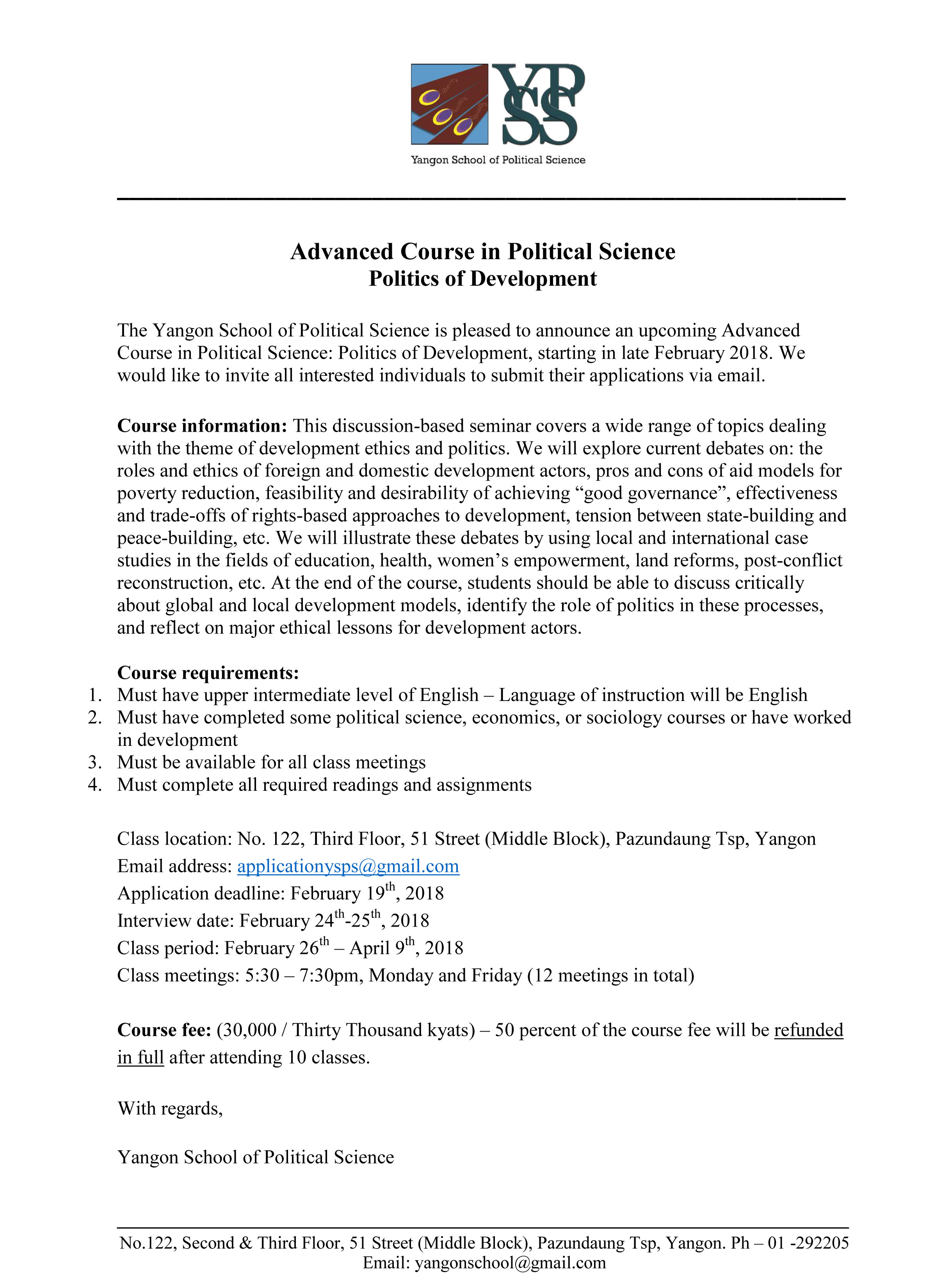 Advanced Course in Political Science: Politics of Development